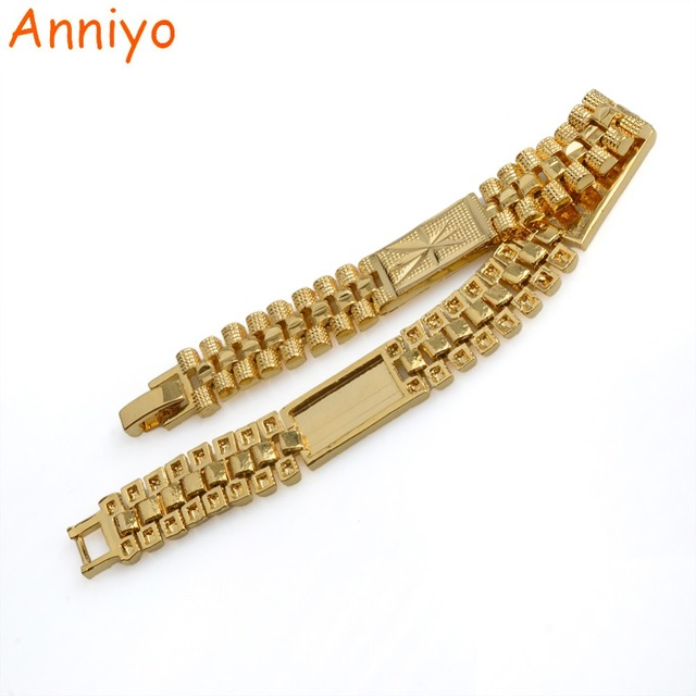 Anniyo Length 19cm African Link Bracelet Gold Color For Womens Arab Metal Bangle Jewelry Ethiopian Best