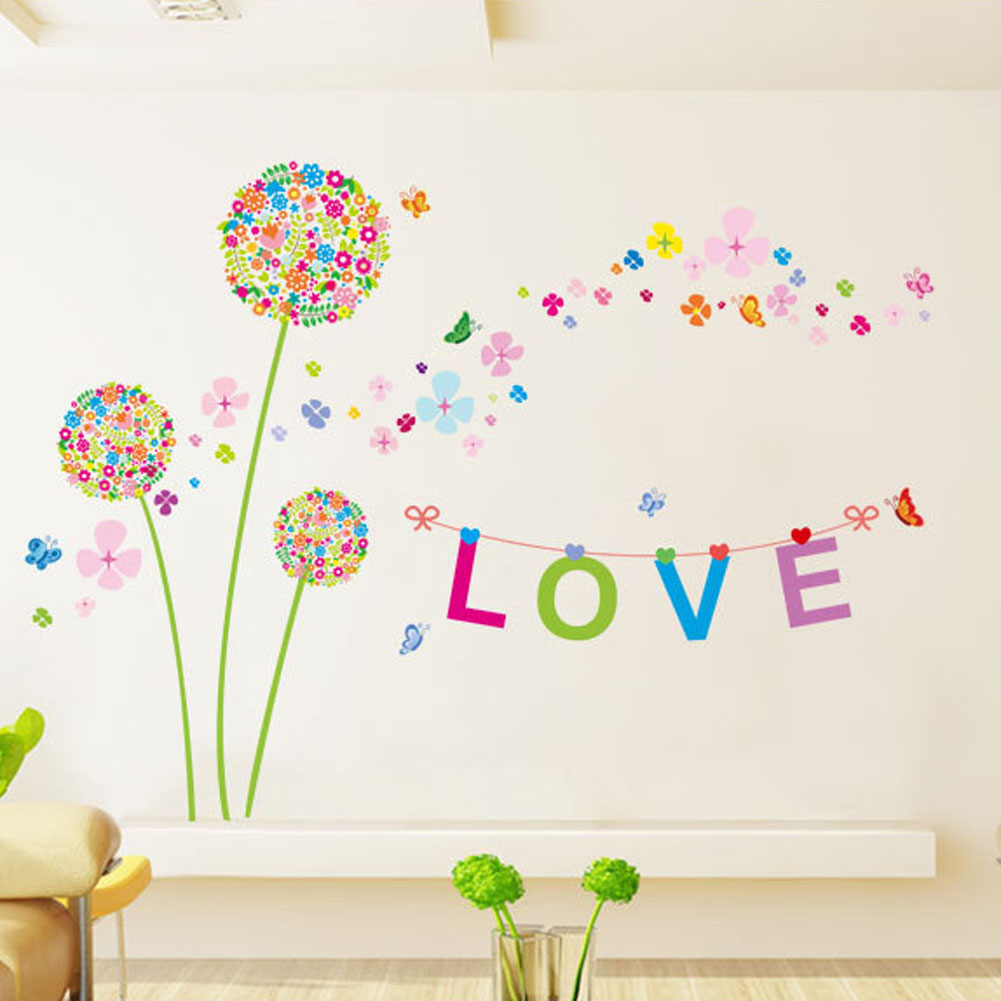 Bedroom Warm Love Mural Decoration Waterproof Dandelion Wall Stickers For Kids Rooms Home Decoration Accessories
