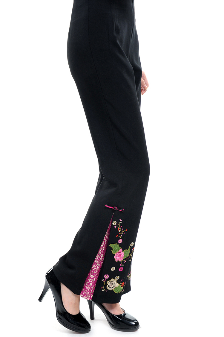 El envío GRATUITO! descuento grande! mujeres chinas elástico cintura borde  flor flares Pantalones más tamaño m-4xl wp005 5cc878b11b18