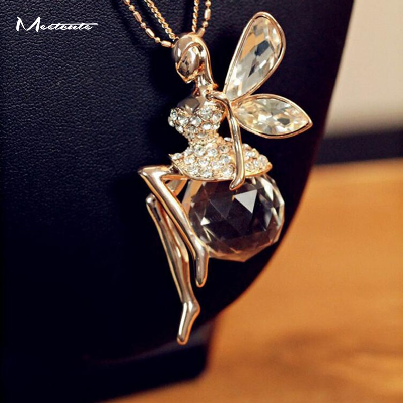 Fashion Angel's Wings Rhinestone Crystal Pendant Necklace Women Jewelry Gift New