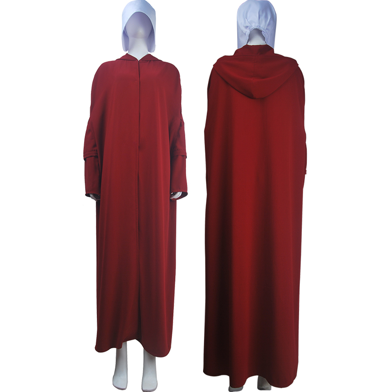 Men's The Handmaid's Tale Offred Handmaid Cosplay Costume Robe Cape Halloween Carnival Make-up Costume Unisex