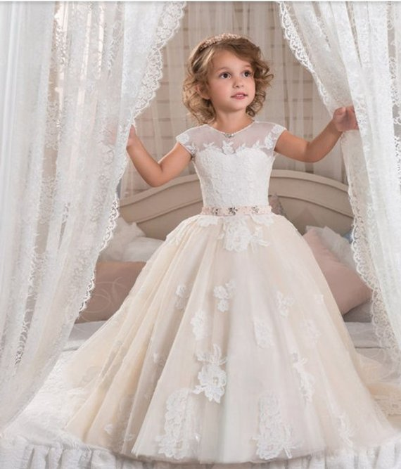 Sleeveless Royall Flower Girl Dress For Wedding Princess Kids Dresses for Ball Gown First Communion Dresses For Little Girl girl flower dress kids party wear sleeveless clothing girl wedding dresses ball prom first communion dresses for girls