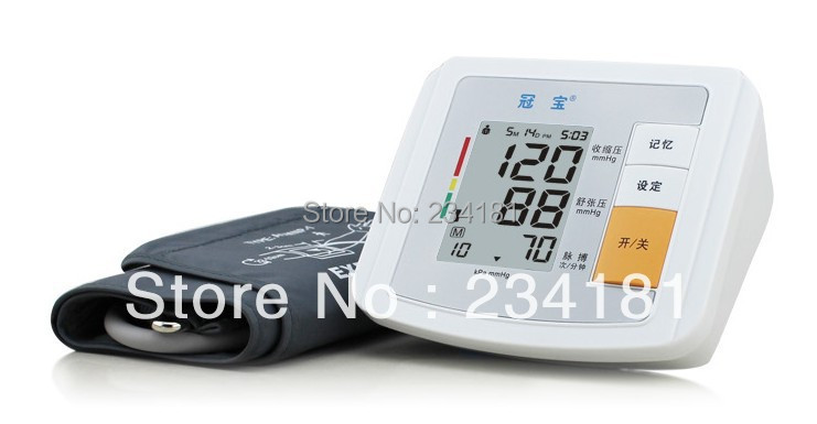 Electronic Arm-type fully automatic blood pressure monitor Heart Beat Meter+LCD display +90 memories voice version digital lcd upper arm blood pressure monitor heart beat meter machine spygmomanometer portable home type free ship