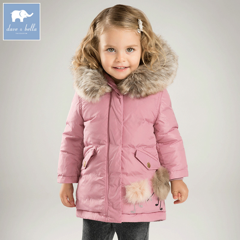 DB6098 dave bella winter baby  girls down jacket children 90% white duck down padded coat kids hooded outerwear db4631 dave bella winter infant coat baby girls red dots printed coat white duck down padded coat hooded outerwear