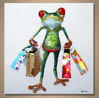 Ручная роспись Современные Абстрактные огромные большая Модульная картина маслом absract лягушка хозяйственные картины без рамки