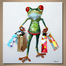 hand painted  MODERN ABSTRACT HUGE LARGE CANVAS ART OIL PAINTING absract frog shopping paintings no framed