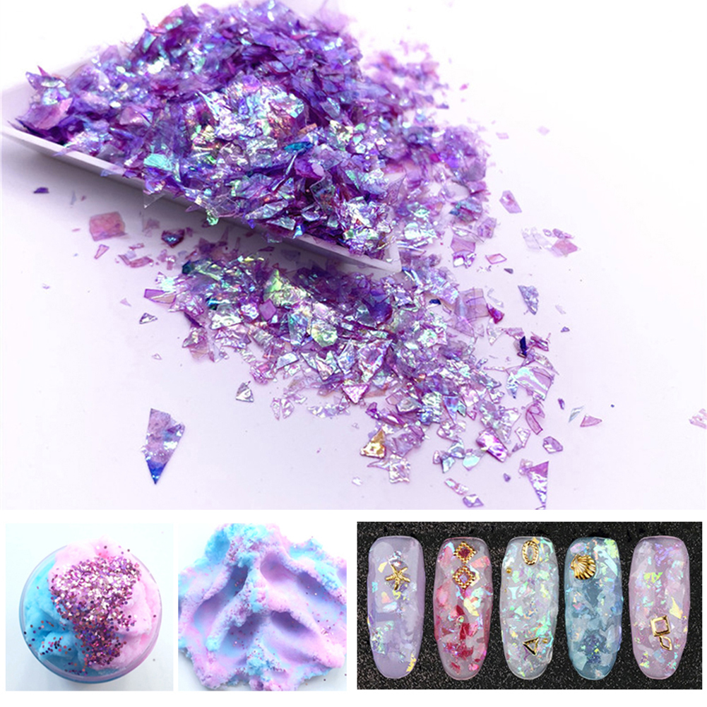 20g Colorful Shell Sugar Broken Pieces Flashing Debris Material UV Resin Epoxy Resin Mold Making Jewelry Filling DIY Craft Toys