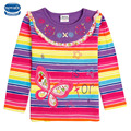 Весна/осень/зима девушка футболка nova дети детская одежда с длинным рукавом красочный полосатый бабочка цветок девушка футболка 2015