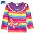 spring/autumn/winter girl t-shirt nova kids children clothes long sleeve colorful striped butterfly flower girl t-shirt 2015