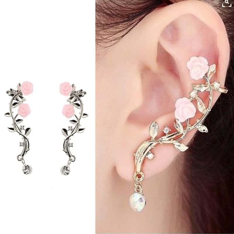 2018 New 2Pcs Elegant Flower Shape Rhinestone Left Ear Cuff Clip Gold & Sliver Color Boho Earring Ear Stud золотые серьги по уху