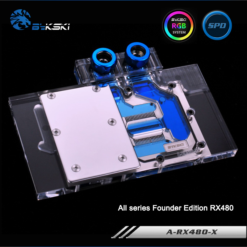 Bykski A-RX480-X Full Cover Graphics Card Water Cooling Block RGB/RBW/ARUA for All series Founder Edition RX480 bykski n titan x full cover graphics card water cooling block rgb rbw arua for founder edition all series gtxtitan x gtx980ti x