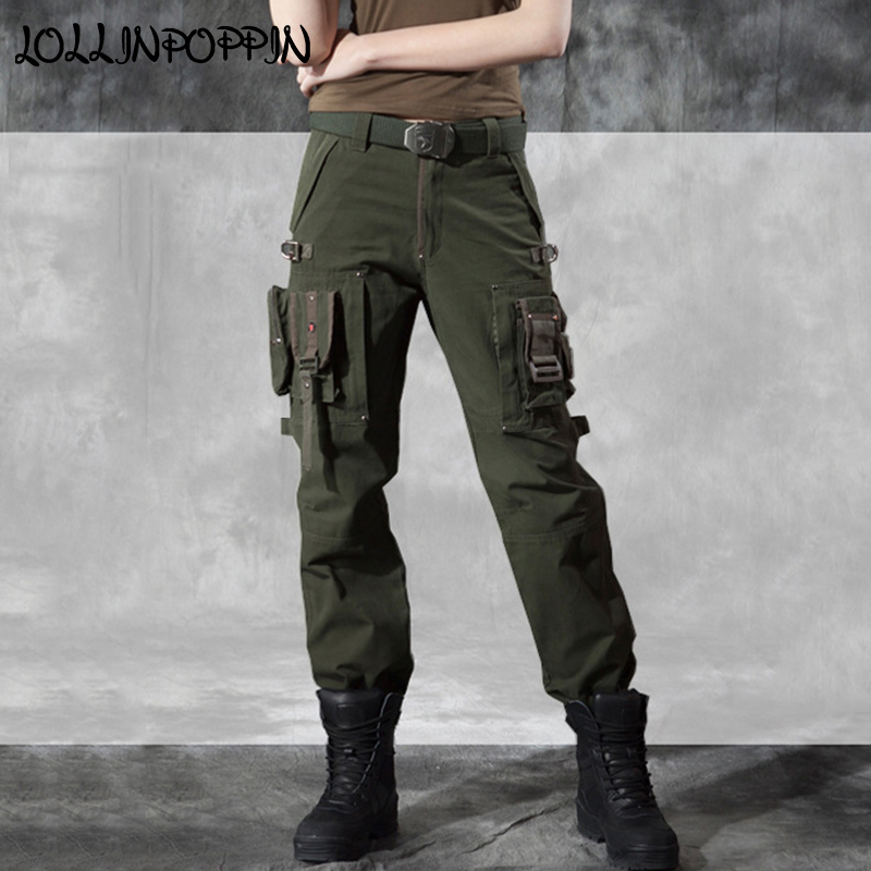 Womens Military Style Tactical Pants Army Green / Black