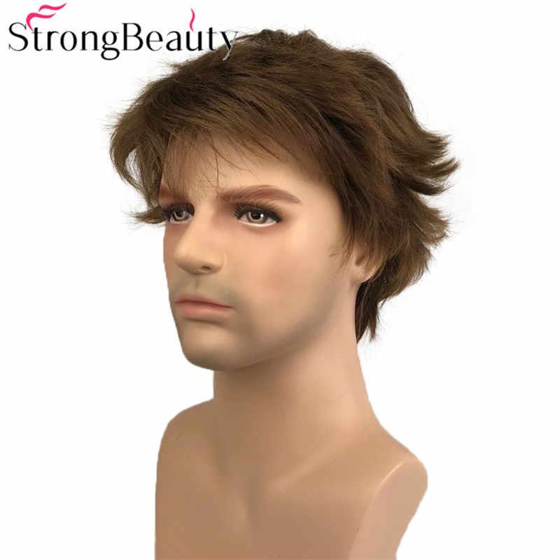 StrongBeauty Kısa Erkekler Peruk Katmanlı Saç Vücut Dalga Peruk Sentetik Isıya Dayanıklı Kapaksız Peruk