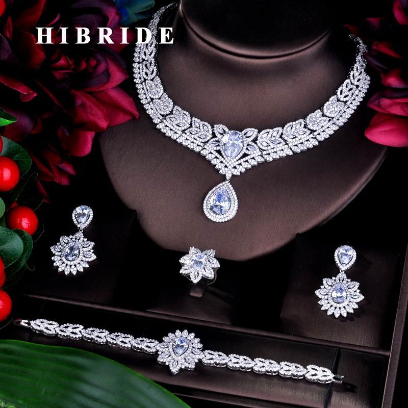 HIBRIDE Clear Fashion Dubai Bridal Jewelry Sets For Women Wedding Accessories Jewelry AAA Cubic Zirconia Sets