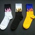Носки унисекс в стиле хип-хоп, носки в стиле Харадзюку С Рисунком пламени, черного, белого, желтого цвета, для скейтборда, для улицы