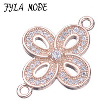 New Fashion Copper Micro Pave Flower Connector Pendant Rose Gold Color Fit European Charm Bracelet Collier DIY Jewelry CHF560
