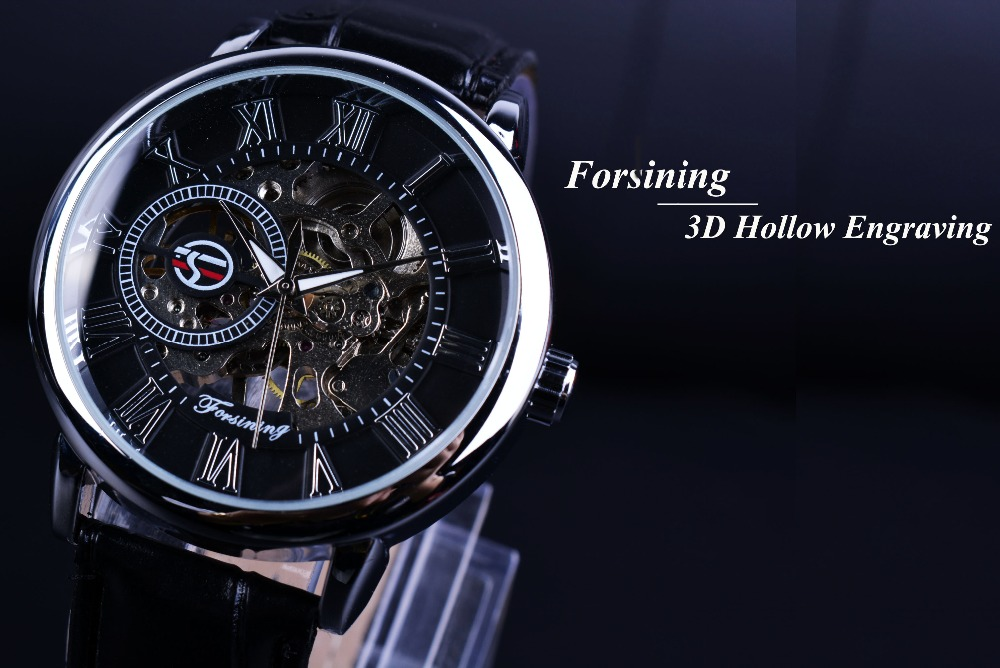 aliexpress com buy forsining 3d literal design r number aliexpress com buy forsining 3d literal design r number black dial designer watches men luxury brand erkek kol saati skeleton watch clock men from