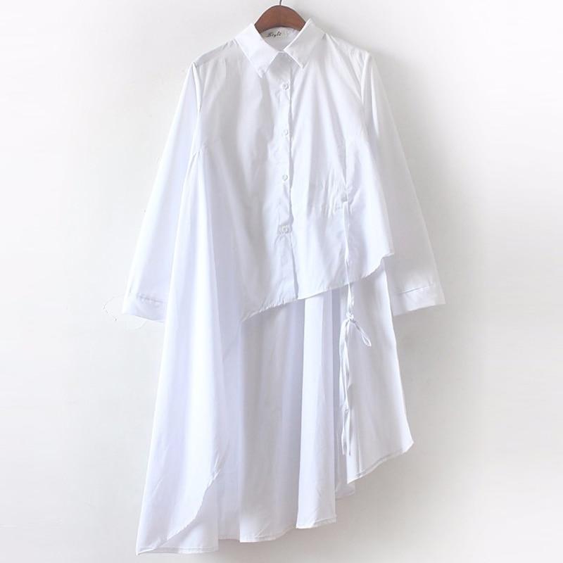 [CHICEVER] 2019 Bahar Elbise Kadınlar Uzun Kollu Düzensiz Elbise - Bayan Giyimi - Fotoğraf 5