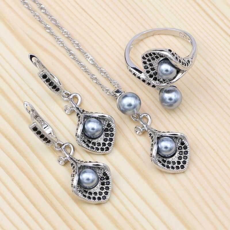 Gray Pearl 925 Silver Jewelry Sets Black Cubic Zirconia For Women Party Horn Shape Drop Earrings Open Ring Pendant Necklace Set