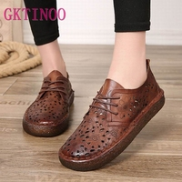 GKTINOO Summer Hollow Out Women Flats Original Genuine Leather Shoes Round Toes Handmade Vintage Ladies Soft Bottom Flat Shoes