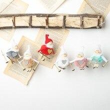 Cute Christmas Angel Girl Ski Plush Dolls Xmas Tree Door Window Hanging Ornament Pendant Party Decoration for Home