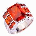 lingmei Unisex Rings Ornate Handsome Style Red Garnet Silver Fashion Gift Size 7 8 9 10 Art Deco Jewelry Wholesale 609R6