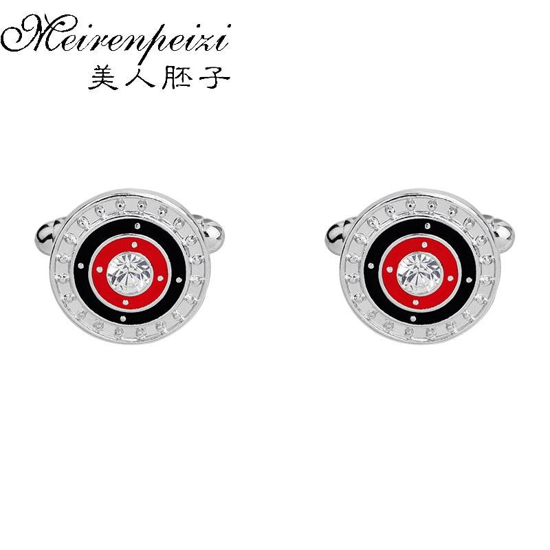 Classic Men's Vintage Cufflinks Antique Round Enamel Red White Rhinestone Brand Cufflinks Steampunk Cuff Links For Women Men