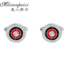 Red Black Enamel Round Design Cufflinks For Mens Luxury Brand Male Accessories Gemeros 2017 New Gift Dad
