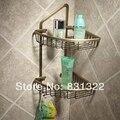 All copper antique bathroom bilayer triangular rack Double bathroom hook Suite bathroom pendant Double European basket