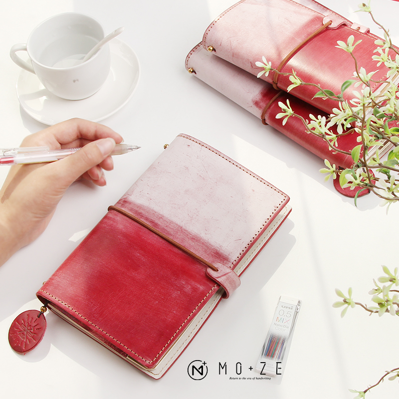 2018 Yiwi Red Pink Handmade Genuine Leather Travel Notebook Creative Cow Leather Planner With Filler Pages silicone jigsaw pattern cover creative notebook red white green purple