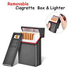 Windproof Ciagrette Holder Box with Removable USB Electronic Lighter Flameless Tobacco Cigarette Case Lighter
