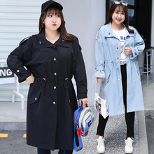 цена 2019 New arrival long trench coat for women Drawstring waist Epaulet Turn-down Collar ladies overcoat plus size thin outerwear