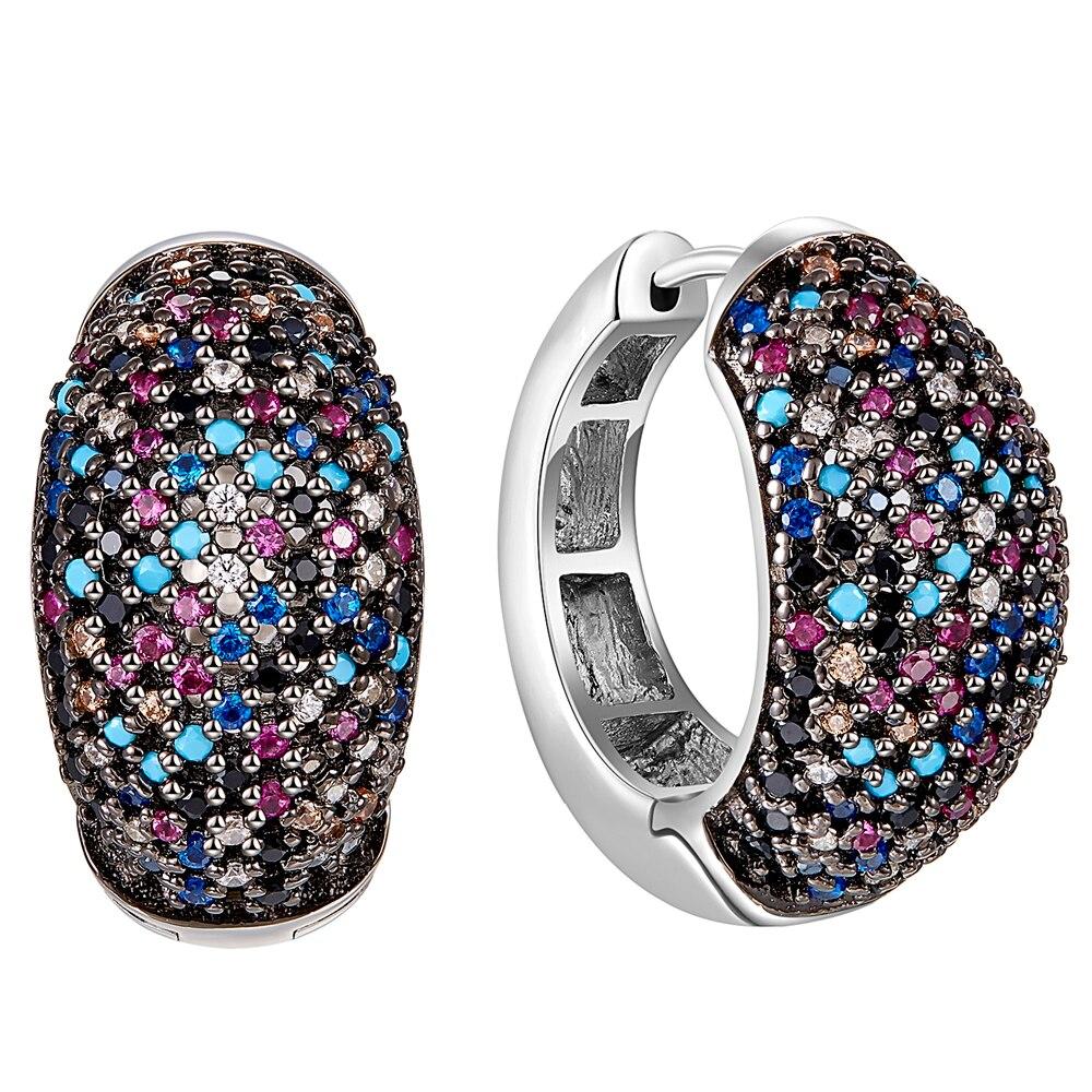 Nouveau design 17mm cerceau boucles d'oreilles pour femmes 925 argent Sterling luxe multicolore Zircon haute couture bijoux livraison gratuite