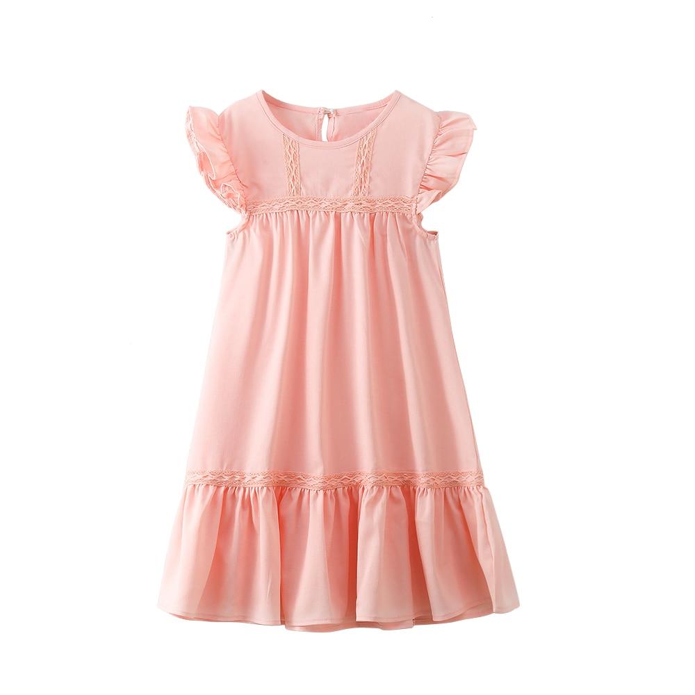 4 - 14 yrs girls pink cotton ruffle elegant princess dress party frocks kids dresses 2019 korean style summer big girls clothes girl