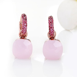 Image 3 - FORIS 14 Colors Fashion Rose Gold Color Pink Zircon Earrings For Women Gift Fine Jewelry