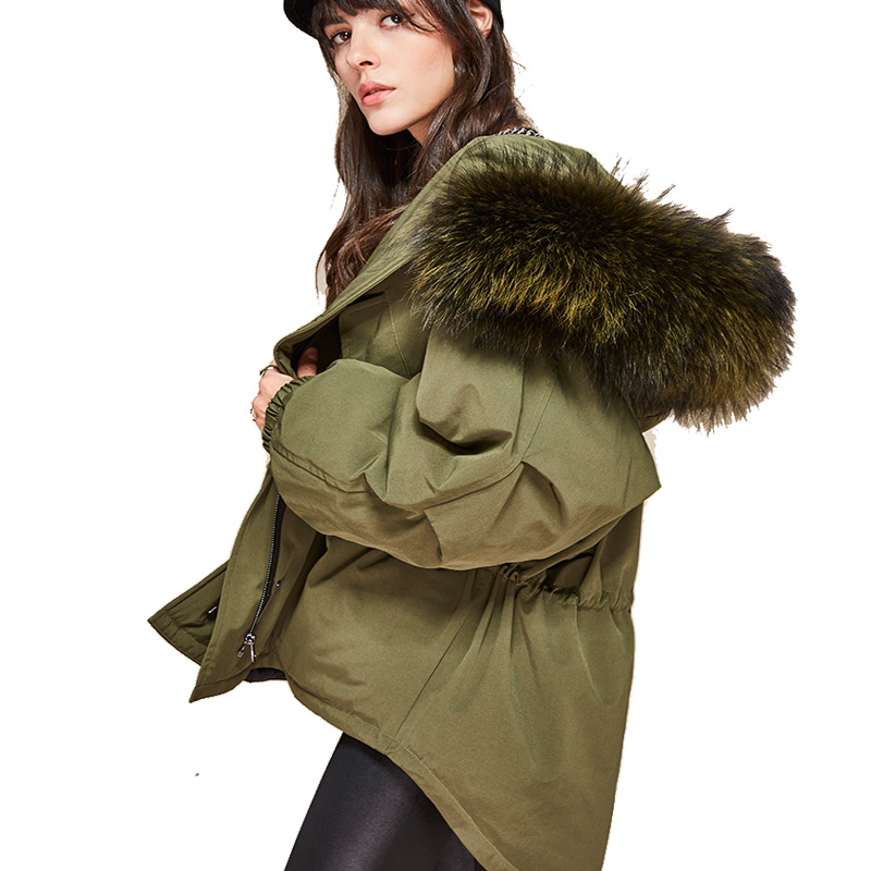 2017 New High Fashion Winter Women's Warm Thick Bat Sleeved Jacket Oversize Dovetail Coat Large Real Raccoon Fur Hooded Parkas