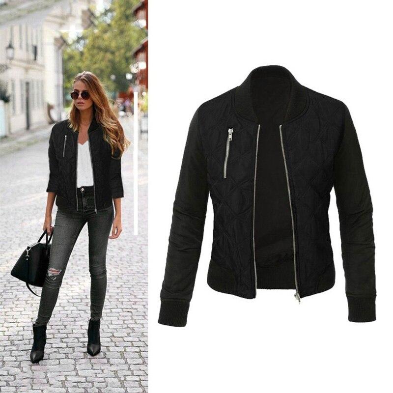HTB19jWdXHr1gK0jSZFDq6z9yVXa8 Autumn Winter Leisure Fashion Solid Women Jacket O-neck Zipper Stitching Quilted Bomber jacket 2019 New Women Coats
