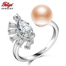 Фейге Pearl Ring высокое качество AAA Цирконий 925 sterling Серебряные кольца для Для женщин 8-9 мм розовый жемчуг пресноводных леди подарки