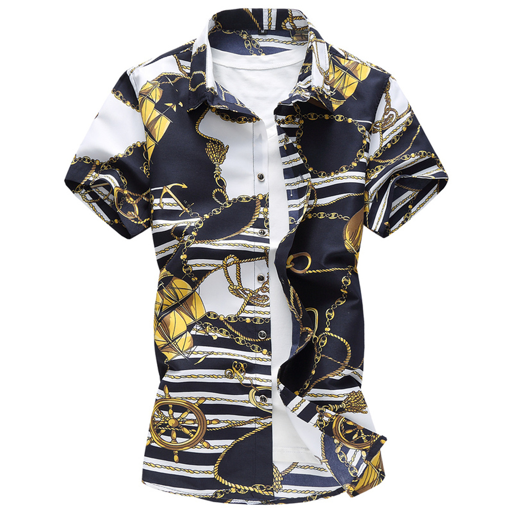 Plus Size 6XL 7XL 2019 Summer Men Shirts Slim Fit Turn-down Collar Floral Short-Sleeved Flowers Pattern Shirts Men's Dress