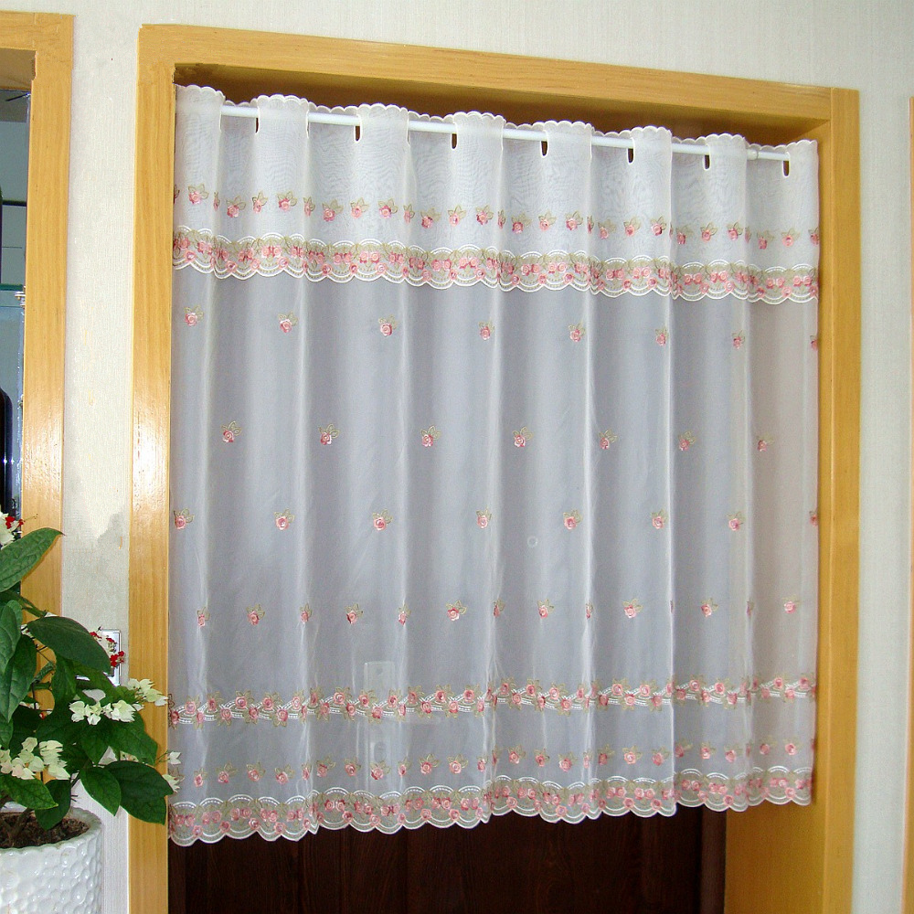 Countryside Door Curtain Luxurious Pink Flower Embroidered Window Screen  Valance Coffee Curtain for Kitchen Cabinet Door tt 0101-in Window Screens  from Home ...