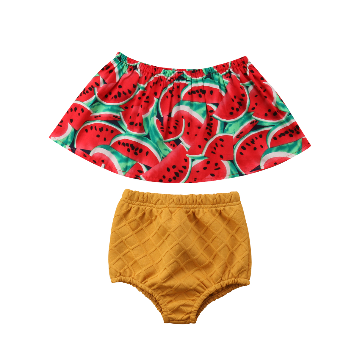 2PCS Infant Baby Girl Kid Summer Hot Sale Clothes Off Shoulder Colorful Pattern Top+Shorts Pants Outfit Set