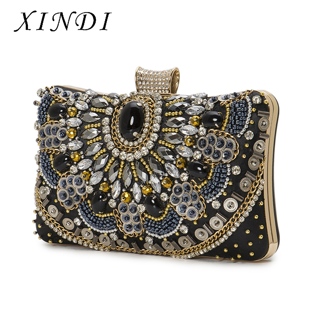 High Quality Vintage Fashion Embroidery Women Day Clutches Bags Rhinestones Beading Purse Diamond Chain Shoulder Evening HandBag new national embroidery bags high quality women fashion shoulder