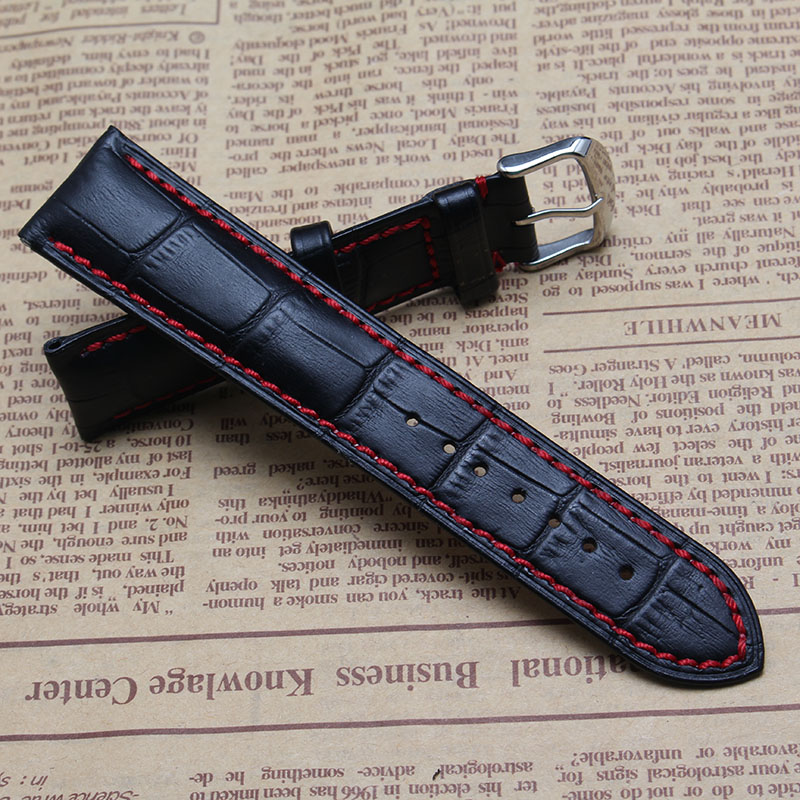 20mm 22mm Mens Watch Band Watches Strap Bracelet Black leather with Red Stitched Lining silver Stainless Steel pin Clasp Buckle 20mm 22mm black genuine leather watch bands strap bracelet brand black stainless steel clasp buckle red stitched line watchbands