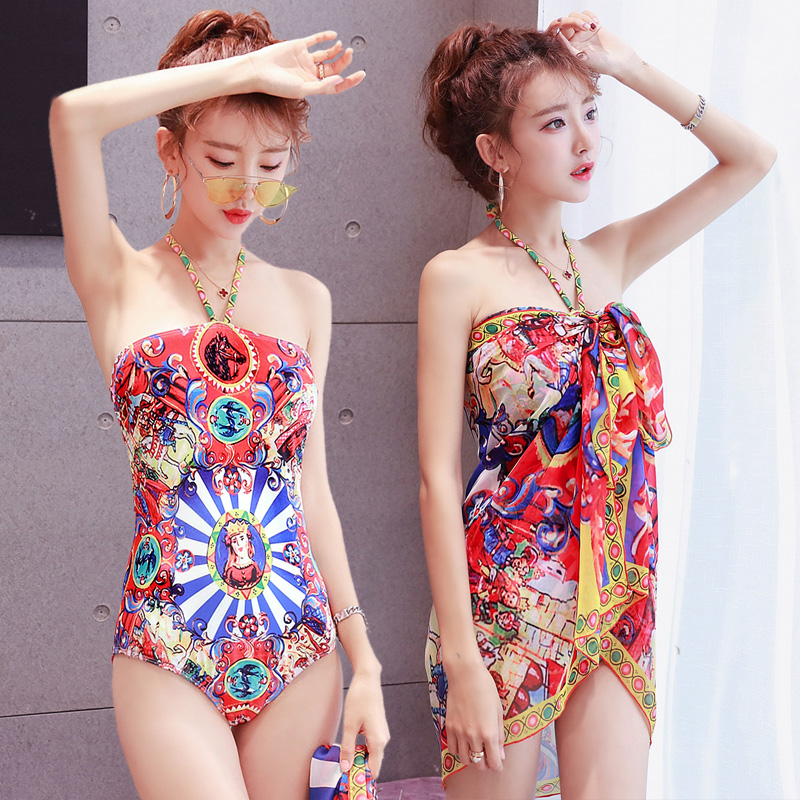 KEKAKA With Cover Up Vintage Red Monarch Horse Print One Piece Swimsuit 2019 Sexy Push Up Halter Bathing Suit Swimwear Women