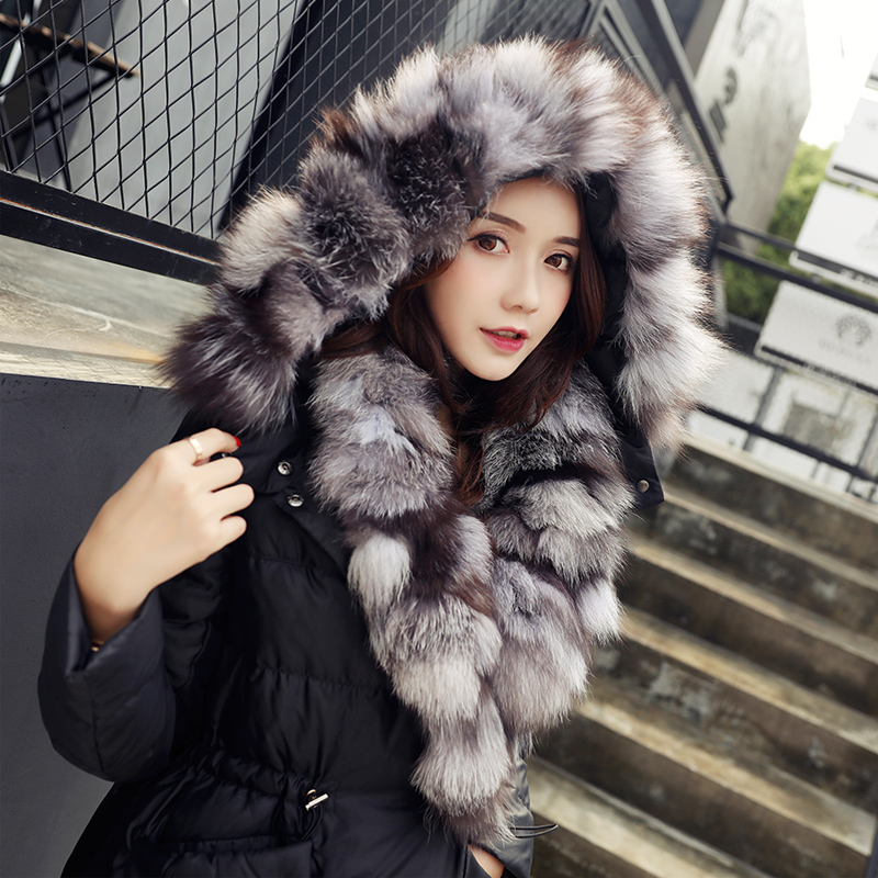 new winter long section of the Korean version of women's clothing long down jacket thick loose knee size fox fur coat sky blue cloud removable hat in the long section of cotton clothing 2017 winter new woman