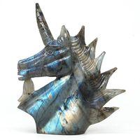 Unicorn Figurine Natural Labradorite Stone Healing Crystal Statue Decor 5.82