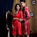 Top Fashion Women Robe Sets Full Sleeve Embroidery Male V-neck Bathrobe Solid Couple Pijama Femininos Free Shipping 9224/520m2