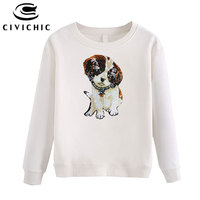 CIVICHIC Stylish Women Sequined Pullovers Shirt Cartoon Puppy Embroidered Hoodie Cute Dog Sweatshirts Cotton Tops Sudadera WHD01