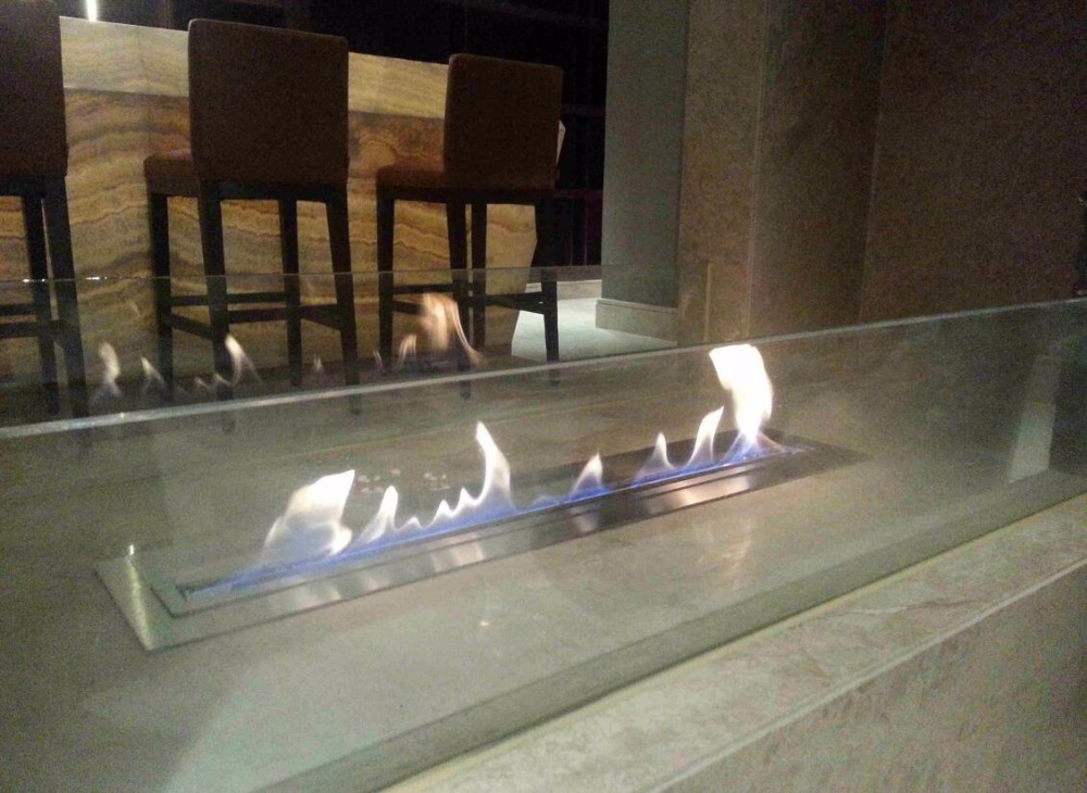 31 Inch L Remote Control Intellgent Silver Or Black Bioethanol Decorative Fireplace Inserts