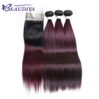 BEAUDIVA Pre Colored Straight Remy Human Hair With Lace Closure 4 4 TB 99J Ombre Color